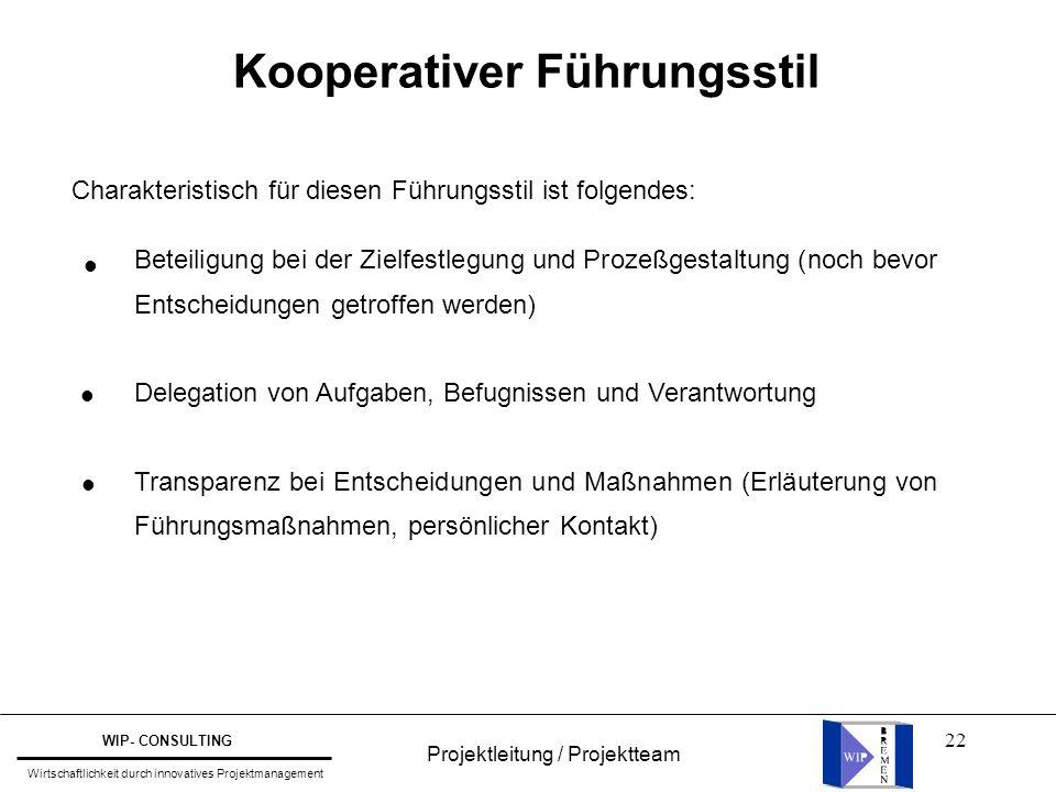 22 Kooperativer Führungsstil Charakteristisch für diesen Führungsstil ist folgendes: Beteiligung bei der Zielfestlegung und Prozeßgestaltung (noch bev