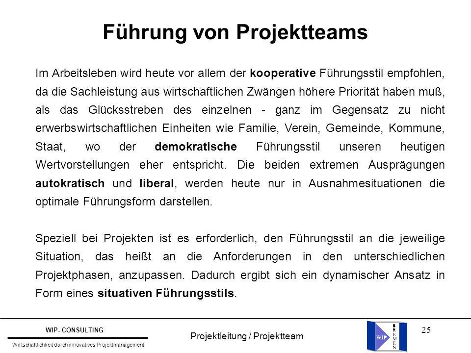 25 Führung von Projektteams Im Arbeitsleben wird heute vor allem der kooperative Führungsstil empfohlen, da die Sachleistung aus wirtschaftlichen Zwän
