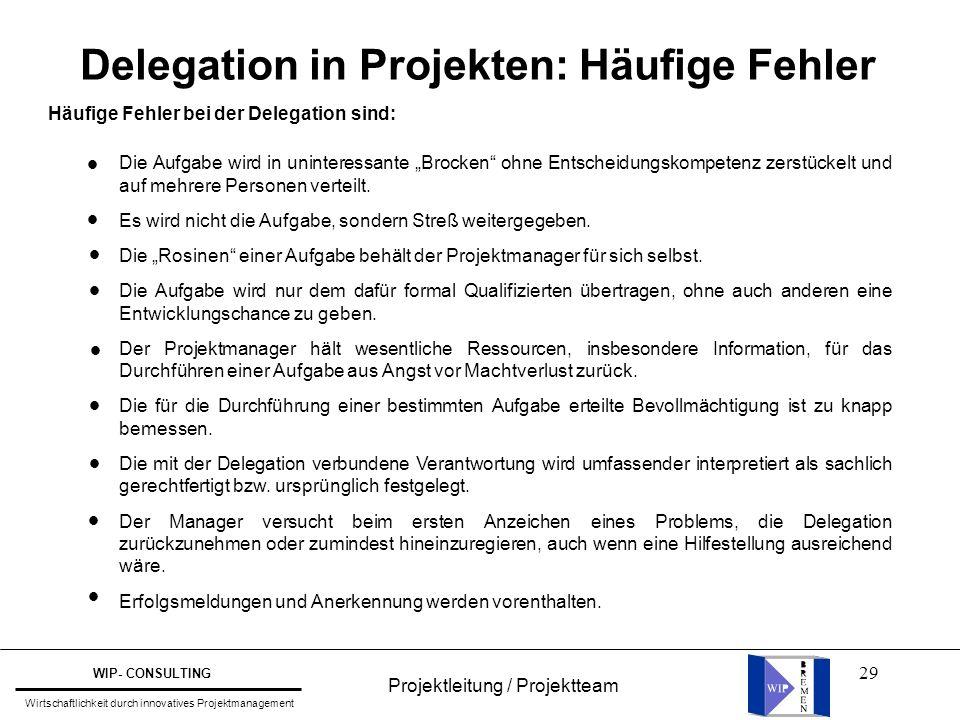 """29 Delegation in Projekten: Häufige Fehler Häufige Fehler bei der Delegation sind: Die Aufgabe wird in uninteressante """"Brocken"""" ohne Entscheidungskomp"""