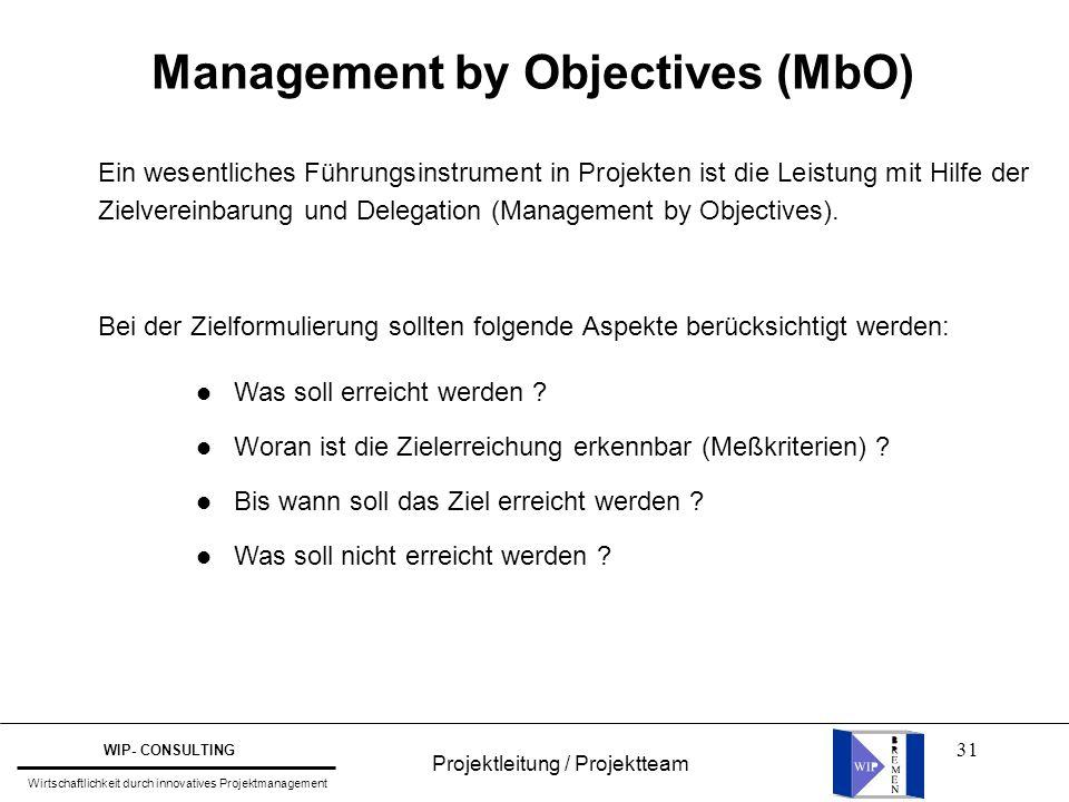31 Management by Objectives (MbO) Ein wesentliches Führungsinstrument in Projekten ist die Leistung mit Hilfe der Zielvereinbarung und Delegation (Man