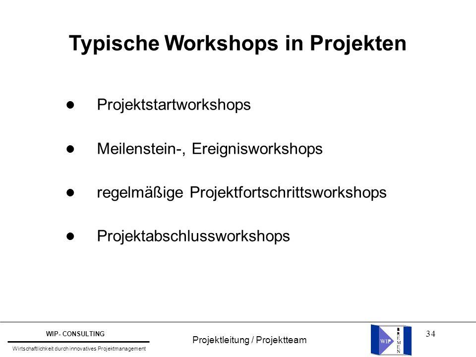 34 Typische Workshops in Projekten l Projektstartworkshops l Meilenstein-, Ereignisworkshops l regelmäßige Projektfortschrittsworkshops l Projektabsch