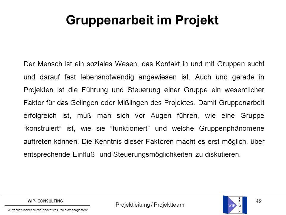 49 Projektleitung / Projektteam WIP- CONSULTING Wirtschaftlichkeit durch innovatives Projektmanagement Der Mensch ist ein soziales Wesen, das Kontakt