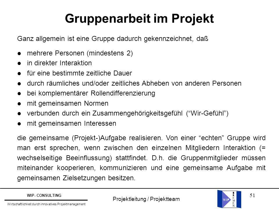 51 Projektleitung / Projektteam WIP- CONSULTING Wirtschaftlichkeit durch innovatives Projektmanagement Gruppenarbeit im Projekt Ganz allgemein ist ein