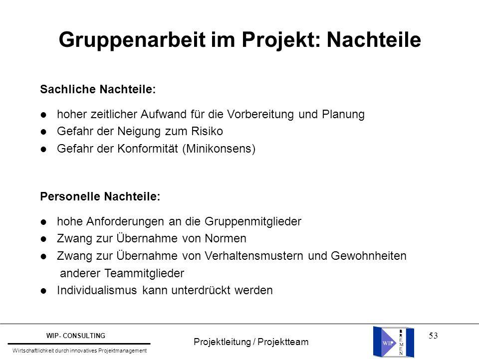 53 Projektleitung / Projektteam WIP- CONSULTING Wirtschaftlichkeit durch innovatives Projektmanagement Gruppenarbeit im Projekt: Nachteile Sachliche N