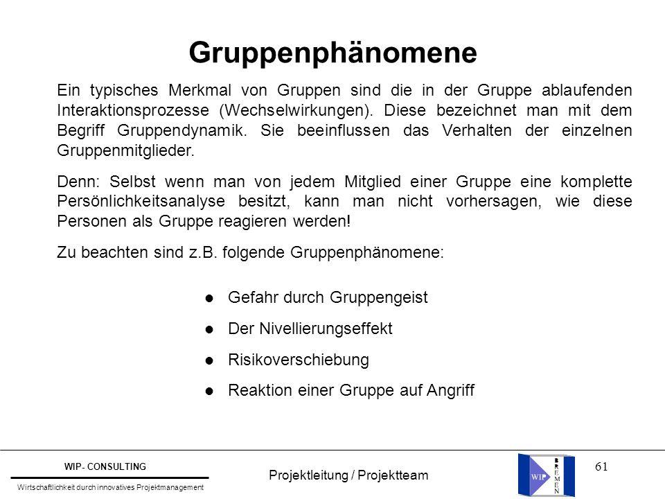 61 Projektleitung / Projektteam WIP- CONSULTING Wirtschaftlichkeit durch innovatives Projektmanagement Gruppenphänomene Ein typisches Merkmal von Grup