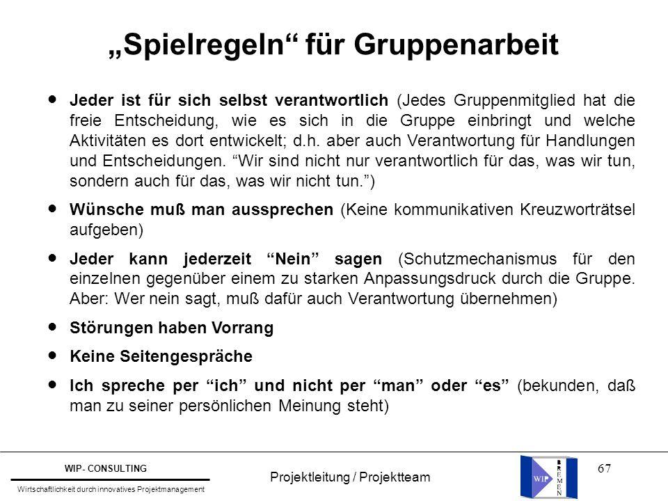 """67 Projektleitung / Projektteam WIP- CONSULTING Wirtschaftlichkeit durch innovatives Projektmanagement """"Spielregeln"""" für Gruppenarbeit Jeder ist für s"""
