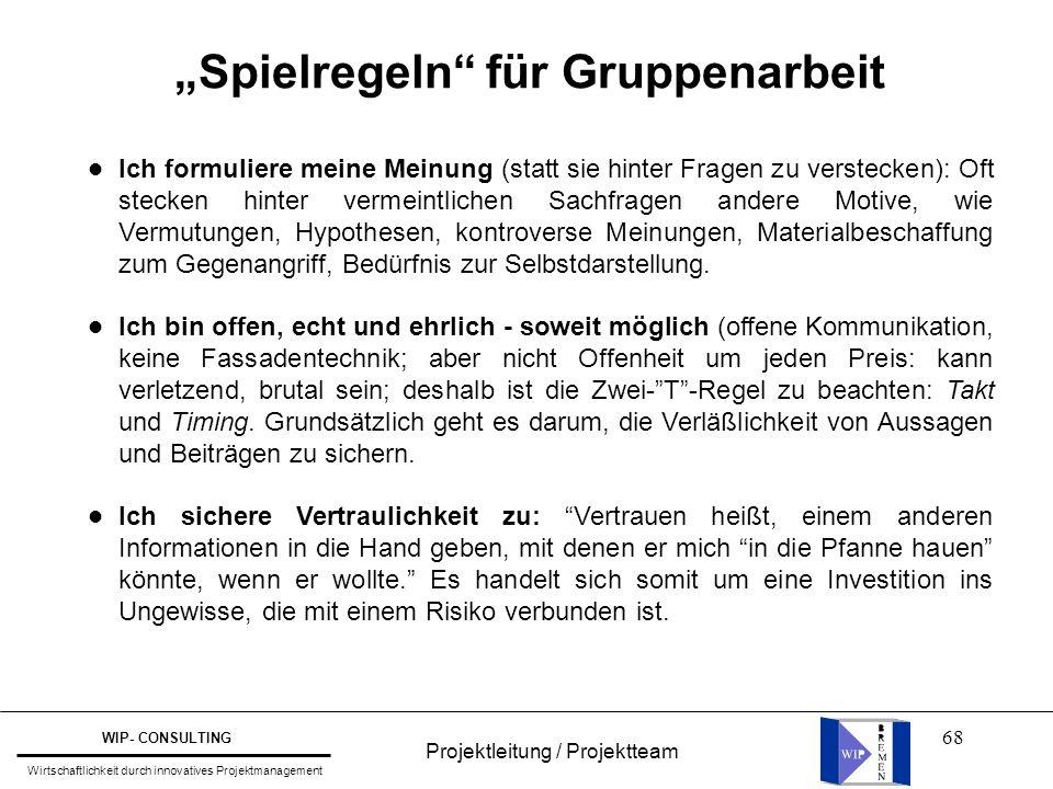 """68 Projektleitung / Projektteam WIP- CONSULTING Wirtschaftlichkeit durch innovatives Projektmanagement """"Spielregeln"""" für Gruppenarbeit Ich formuliere"""