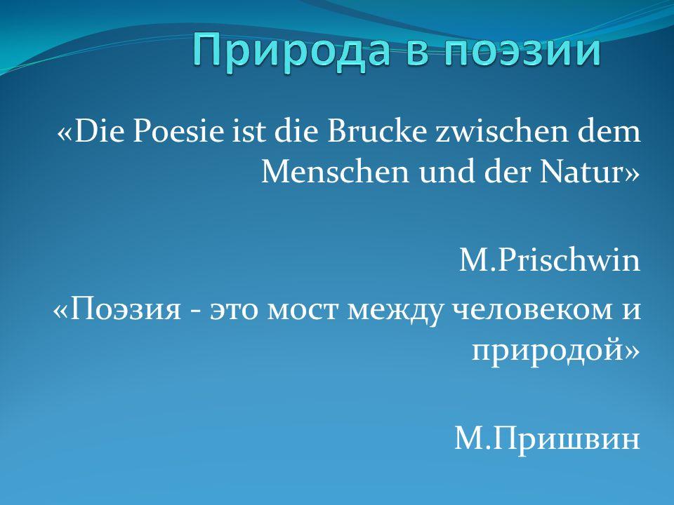 «Die Poesie ist die Brucke zwischen dem Menschen und der Natur» M.Prischwin «Поэзия - это мост между человеком и природой» М.Пришвин