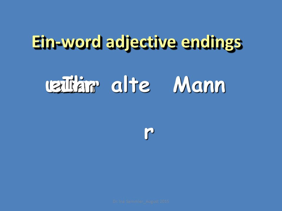 r Ein-word adjective endings alteeinmsderMannunsereuerIhr Dr. Ina Sammler_August 2015