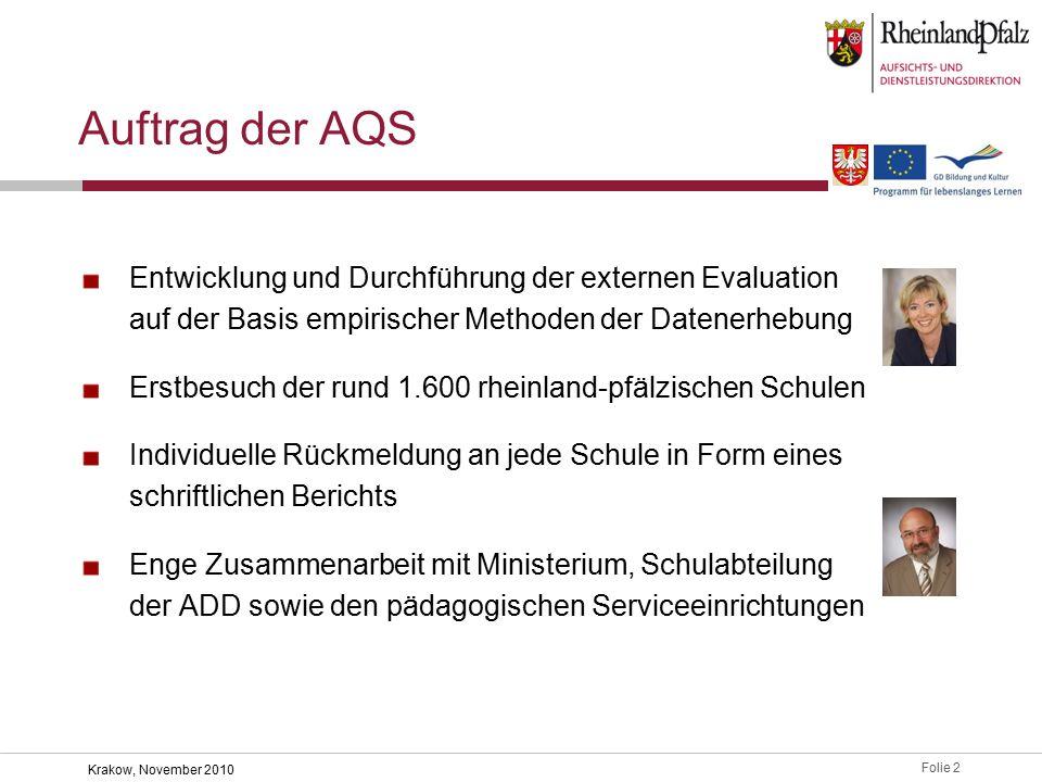 Folie 23 Krakow, November 2010 Evaluation der AQS-Arbeit Evaluationsbogen für Schulen Rückmeldung u.a.