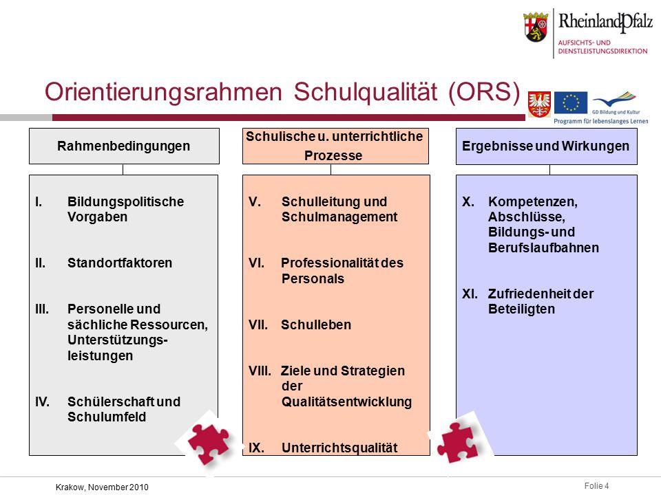 Folie 4 Krakow, November 2010 Orientierungsrahmen Schulqualität (ORS) Rahmenbedingungen Schulische u.