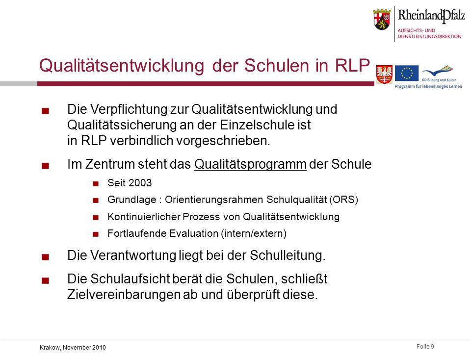 Folie 9 Krakow, November 2010 Die Verpflichtung zur Qualitätsentwicklung und Qualitätssicherung an der Einzelschule ist in RLP verbindlich vorgeschrieben.