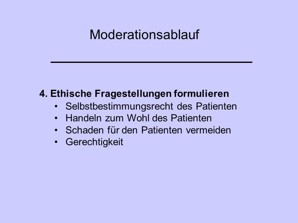 Moderationsablauf 4. Ethische Fragestellungen formulieren Selbstbestimmungsrecht des Patienten Handeln zum Wohl des Patienten Schaden für den Patiente