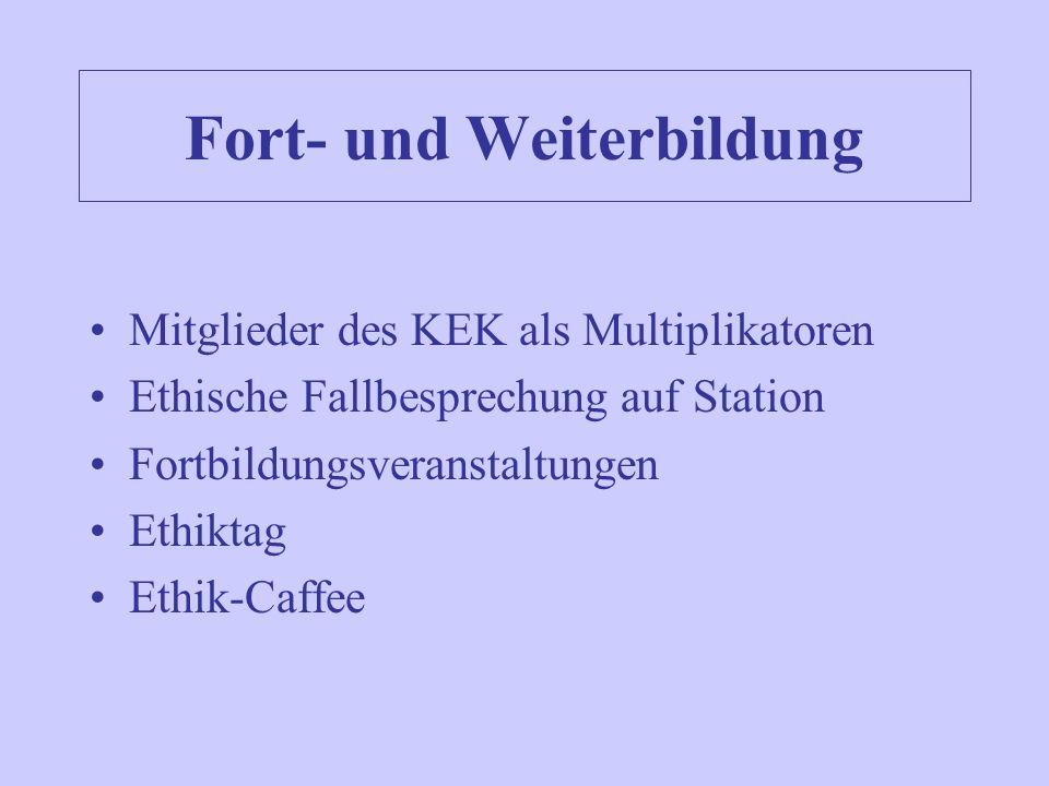 Fort- und Weiterbildung Mitglieder des KEK als Multiplikatoren Ethische Fallbesprechung auf Station Fortbildungsveranstaltungen Ethiktag Ethik-Caffee