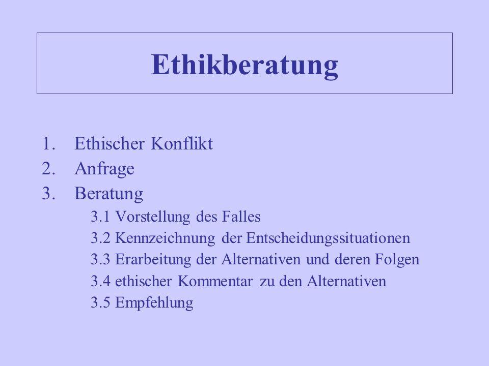 Ethikberatung 1.Ethischer Konflikt 2.Anfrage 3.Beratung 3.1 Vorstellung des Falles 3.2 Kennzeichnung der Entscheidungssituationen 3.3 Erarbeitung der