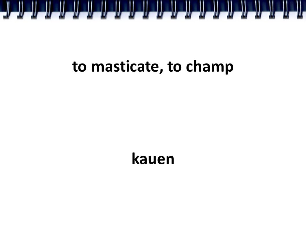 to masticate, to champ kauen