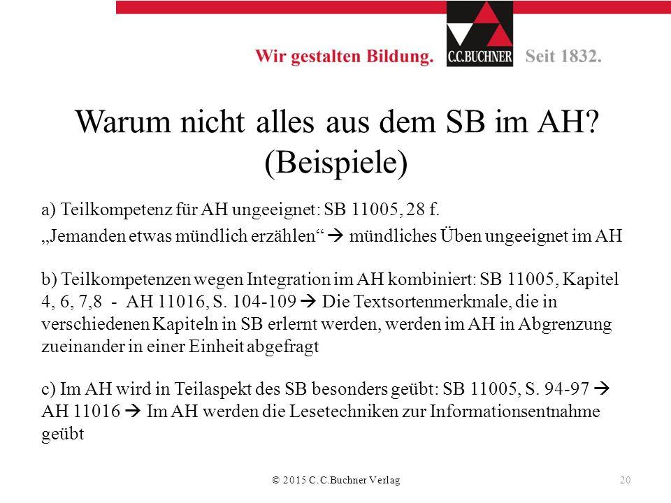 """Warum nicht alles aus dem SB im AH? (Beispiele) a) Teilkompetenz für AH ungeeignet: SB 11005, 28 f. """"Jemanden etwas mündlich erzählen""""  mündliches Üb"""