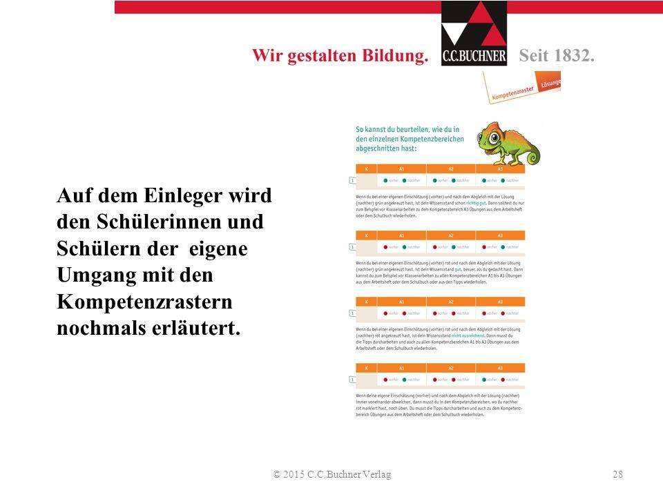 Auf dem Einleger wird den Schülerinnen und Schülern der eigene Umgang mit den Kompetenzrastern nochmals erläutert. © 2015 C.C.Buchner Verlag28