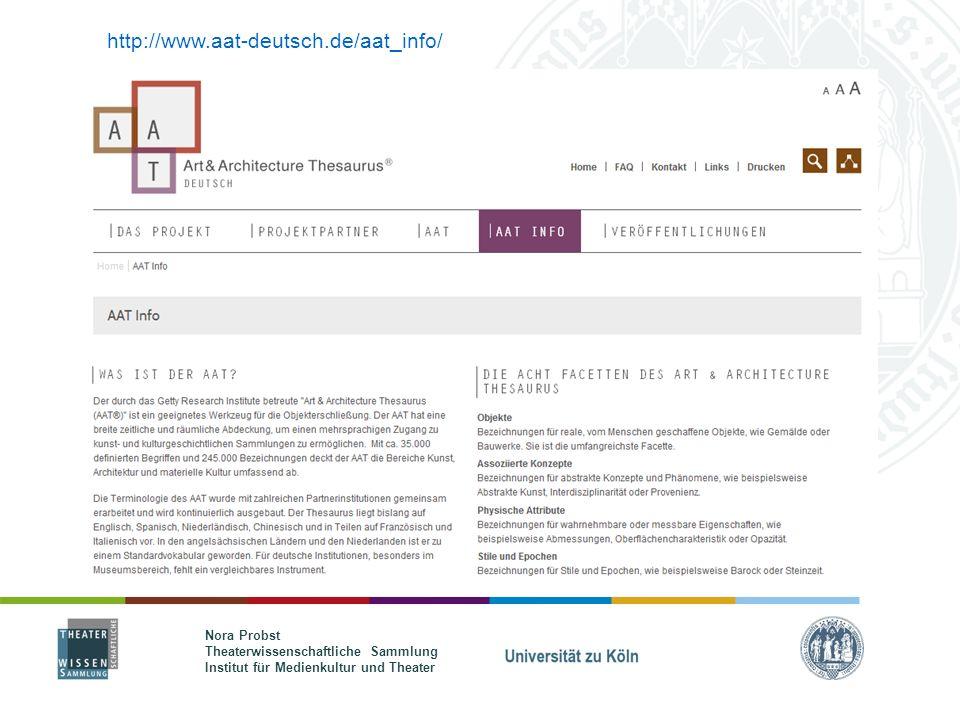 Nora Probst Theaterwissenschaftliche Sammlung Institut für Medienkultur und Theater http://www.aat-deutsch.de/aat_info/