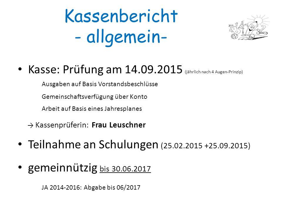 3 Kassenbericht - allgemein- Kasse: Prüfung am 14.09.2015 (jährlich nach 4 Augen-Prinzip) Ausgaben auf Basis Vorstandsbeschlüsse Gemeinschaftsverfügun