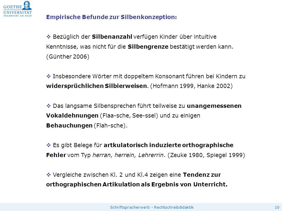 10Schriftspracherwerb - Rechtschreibdidaktik Empirische Befunde zur Silbenkonzeption:  Bezüglich der Silbenanzahl verfügen Kinder über intuitive Kenn