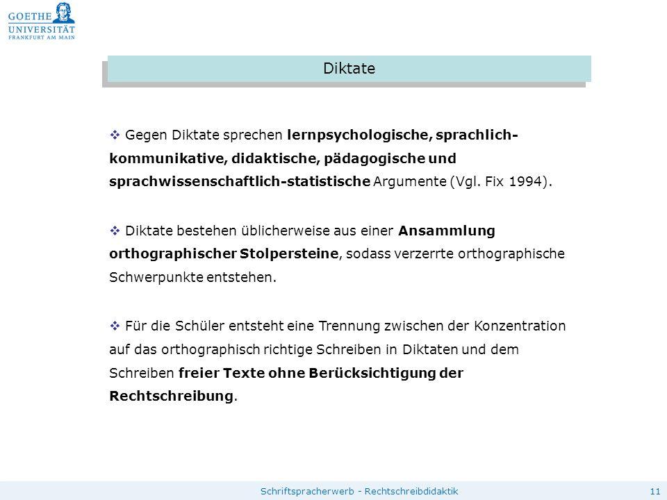 11Schriftspracherwerb - Rechtschreibdidaktik Diktate  Gegen Diktate sprechen lernpsychologische, sprachlich- kommunikative, didaktische, pädagogische