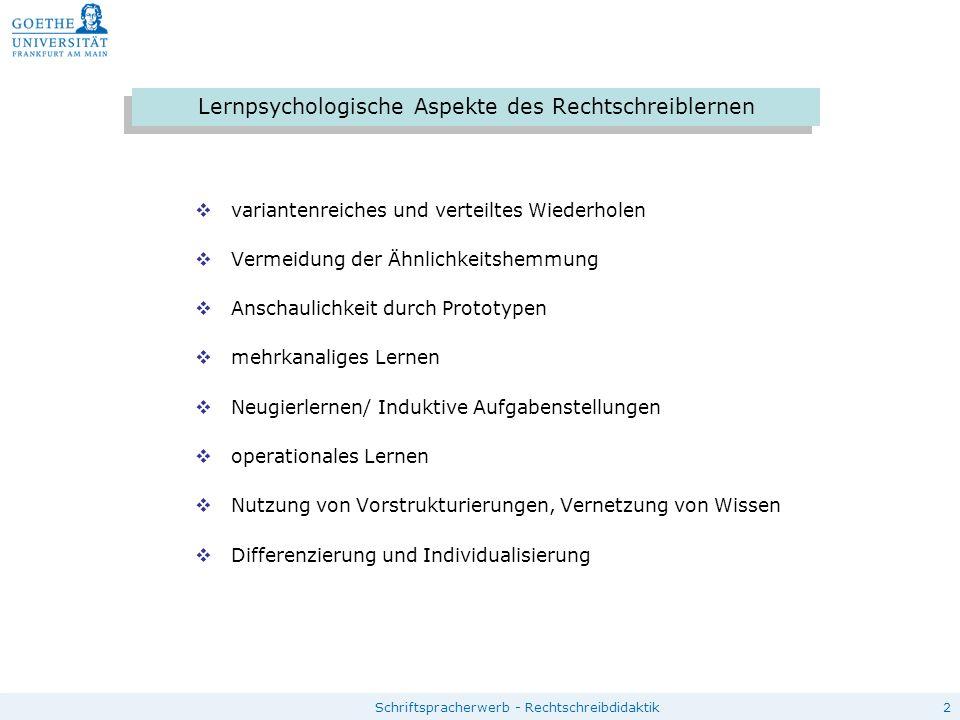 2Schriftspracherwerb - Rechtschreibdidaktik Lernpsychologische Aspekte des Rechtschreiblernen  variantenreiches und verteiltes Wiederholen  Vermeidu