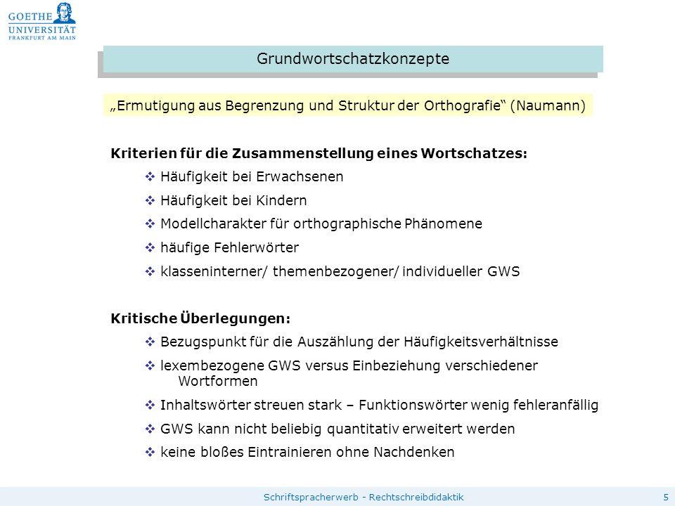 """5 Grundwortschatzkonzepte """"Ermutigung aus Begrenzung und Struktur der Orthografie"""" (Naumann) Kriterien für die Zusammenstellung eines Wortschatzes: """
