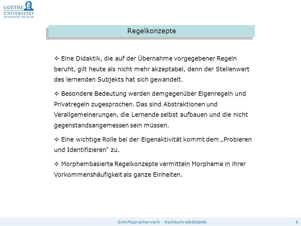 6Schriftspracherwerb - Rechtschreibdidaktik Regelkonzepte  Eine Didaktik, die auf der Übernahme vorgegebener Regeln beruht, gilt heute als nicht mehr