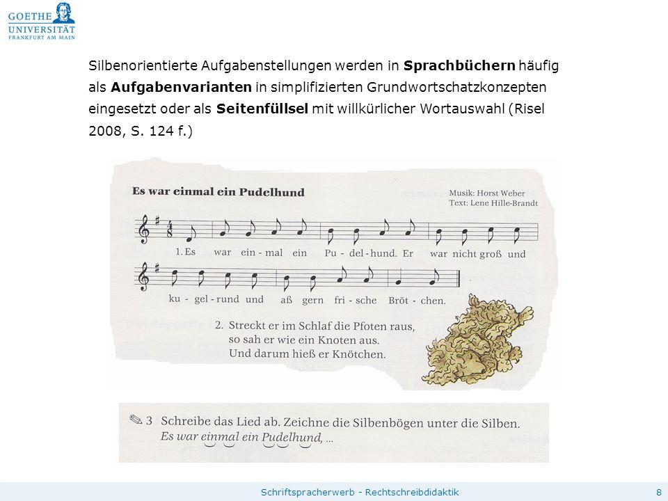 8Schriftspracherwerb - Rechtschreibdidaktik Silbenorientierte Aufgabenstellungen werden in Sprachbüchern häufig als Aufgabenvarianten in simplifiziert
