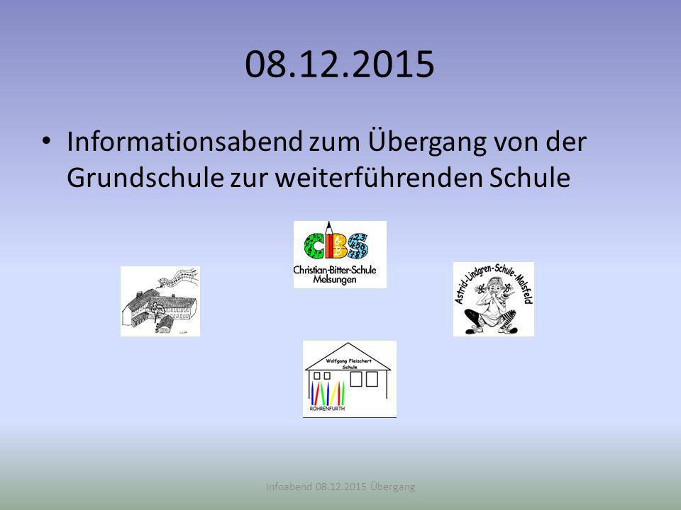 08.12.2015 Informationsabend zum Übergang von der Grundschule zur weiterführenden Schule Infoabend 08.12.2015 Übergang