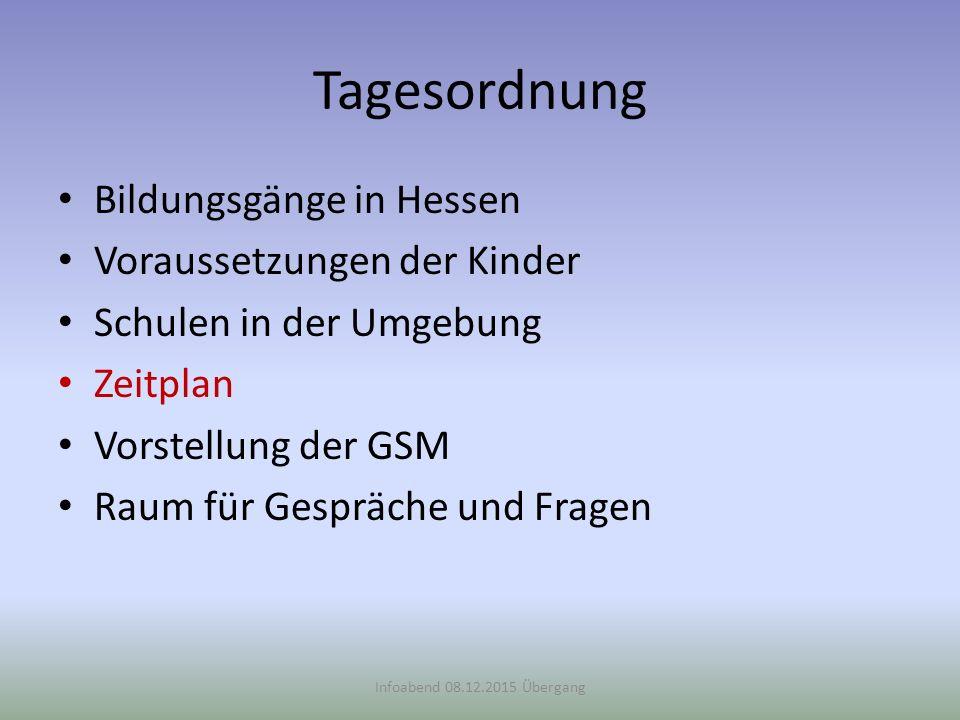 Tagesordnung Bildungsgänge in Hessen Voraussetzungen der Kinder Schulen in der Umgebung Zeitplan Vorstellung der GSM Raum für Gespräche und Fragen Inf