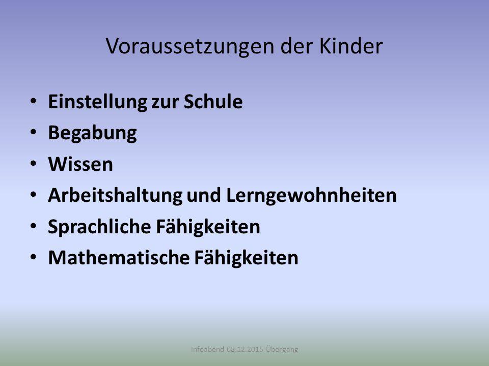 Voraussetzungen der Kinder Einstellung zur Schule Begabung Wissen Arbeitshaltung und Lerngewohnheiten Sprachliche Fähigkeiten Mathematische Fähigkeite