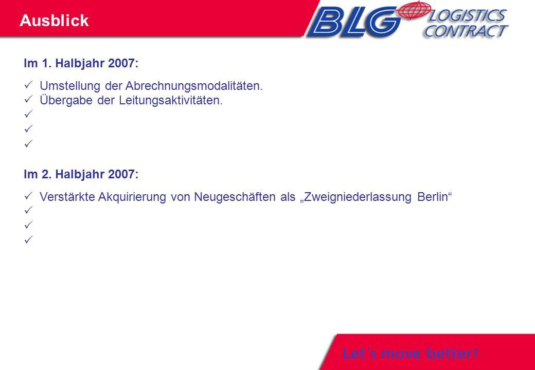 Im 1. Halbjahr 2007:  Umstellung der Abrechnungsmodalitäten.