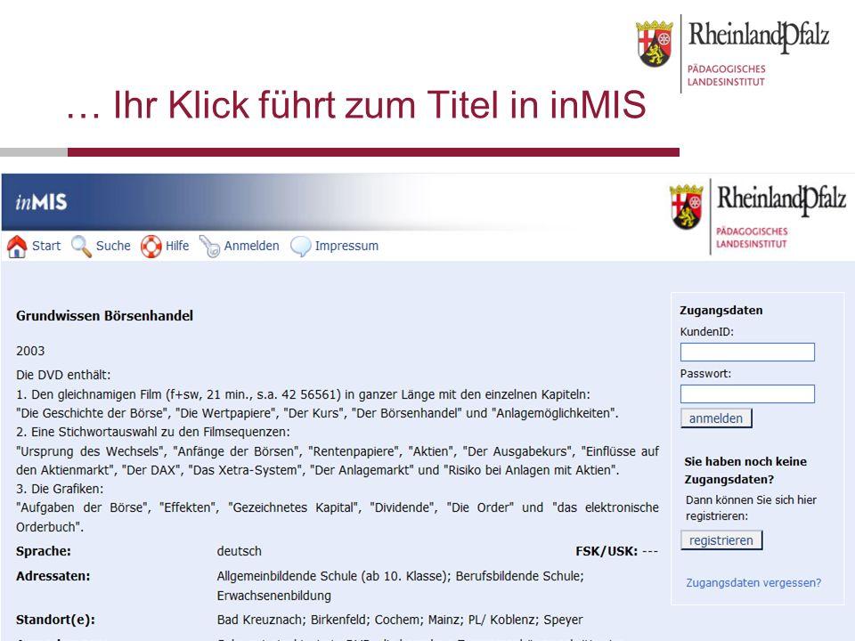 Folie 12OMEGA - Das ONLINEMEDIEN GESAMTANGEBOT für Schulen in Rheinland-Pfalz … Ihr Klick führt zum Titel in inMIS