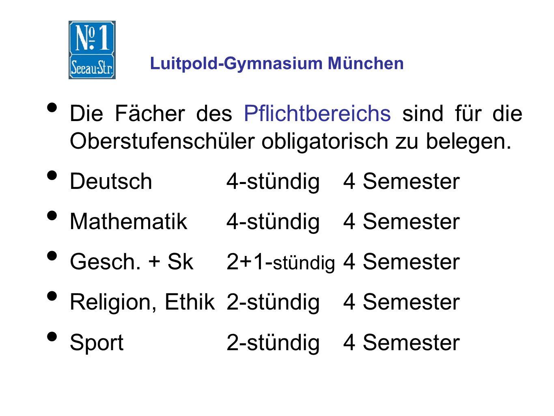 Luitpold-Gymnasium München Die Fächer des Pflichtbereichs sind für die Oberstufenschüler obligatorisch zu belegen.