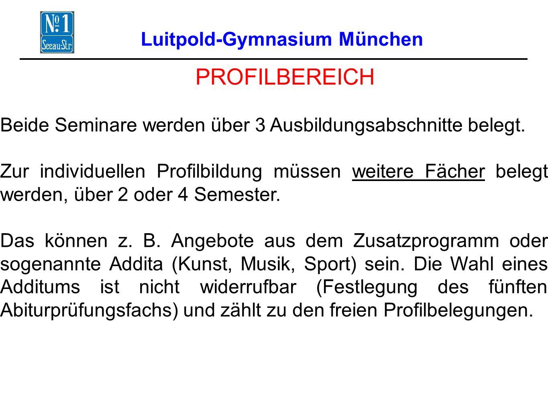 Luitpold-Gymnasium München PROFILBEREICH Beide Seminare werden über 3 Ausbildungsabschnitte belegt.