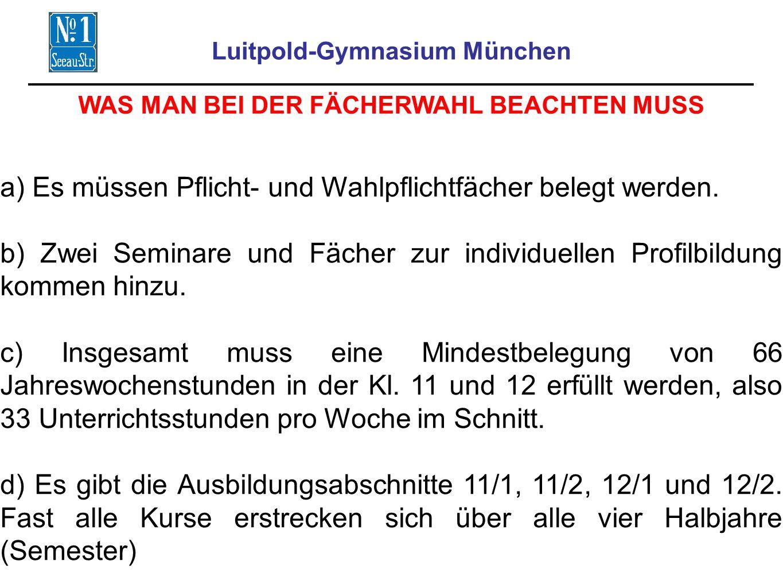 Luitpold-Gymnasium München WAS MAN BEI DER FÄCHERWAHL BEACHTEN MUSS a) Es müssen Pflicht- und Wahlpflichtfächer belegt werden.