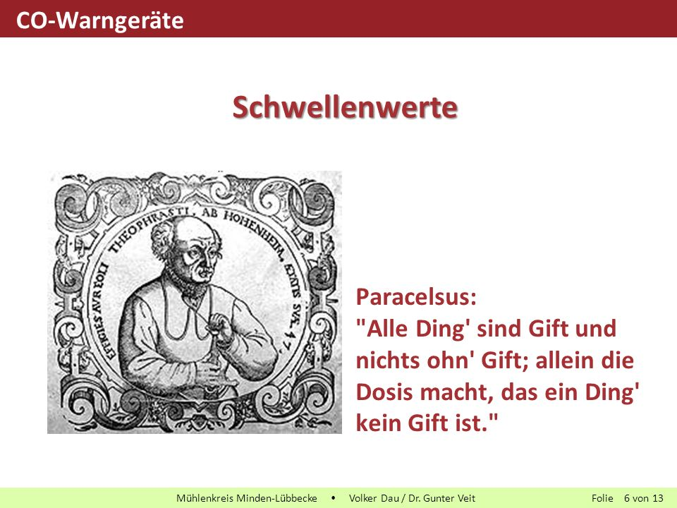 Folie von13 Mühlenkreis Minden-Lübbecke  Volker Dau / Dr. Gunter Veit 6 Paracelsus: