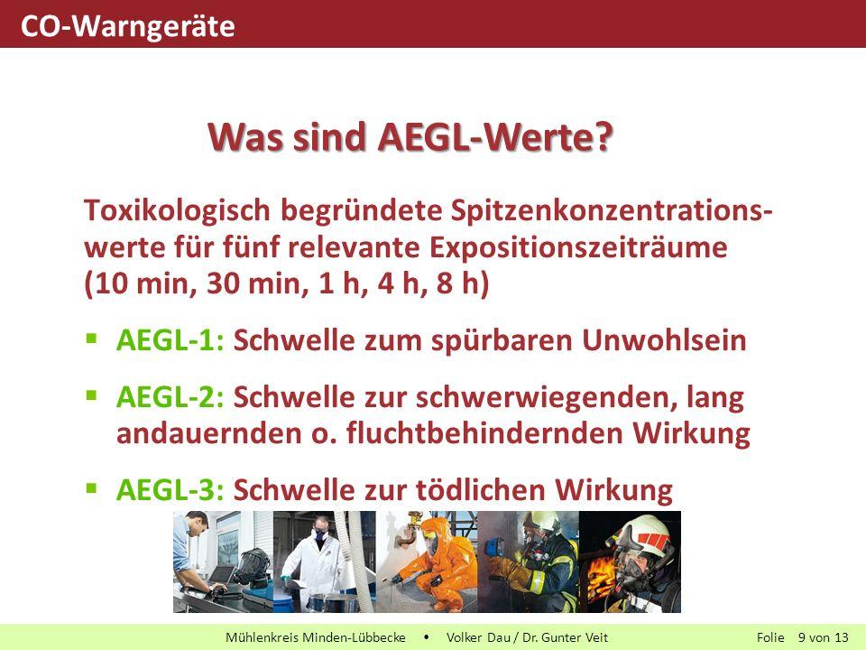 Folie von13 Mühlenkreis Minden-Lübbecke  Volker Dau / Dr. Gunter Veit 9 Toxikologisch begründete Spitzenkonzentrations- werte für fünf relevante Expo
