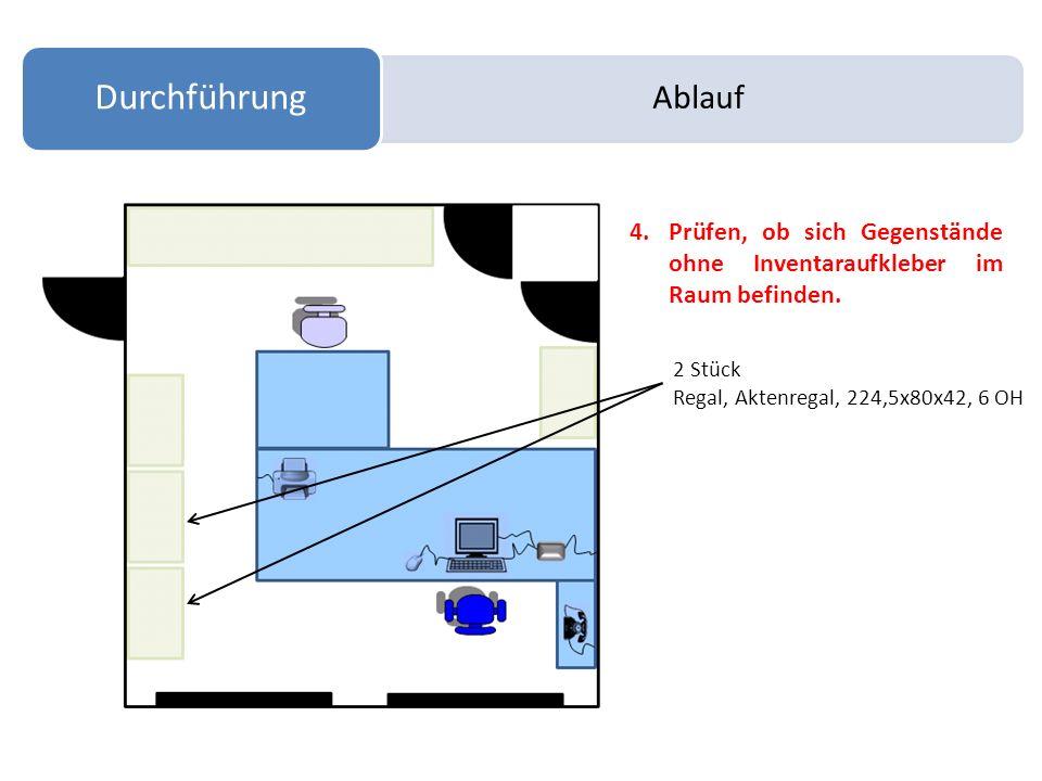 Ablauf Durchführung 4.Prüfen, ob sich Gegenstände ohne Inventaraufkleber im Raum befinden. 2 Stück Regal, Aktenregal, 224,5x80x42, 6 OH