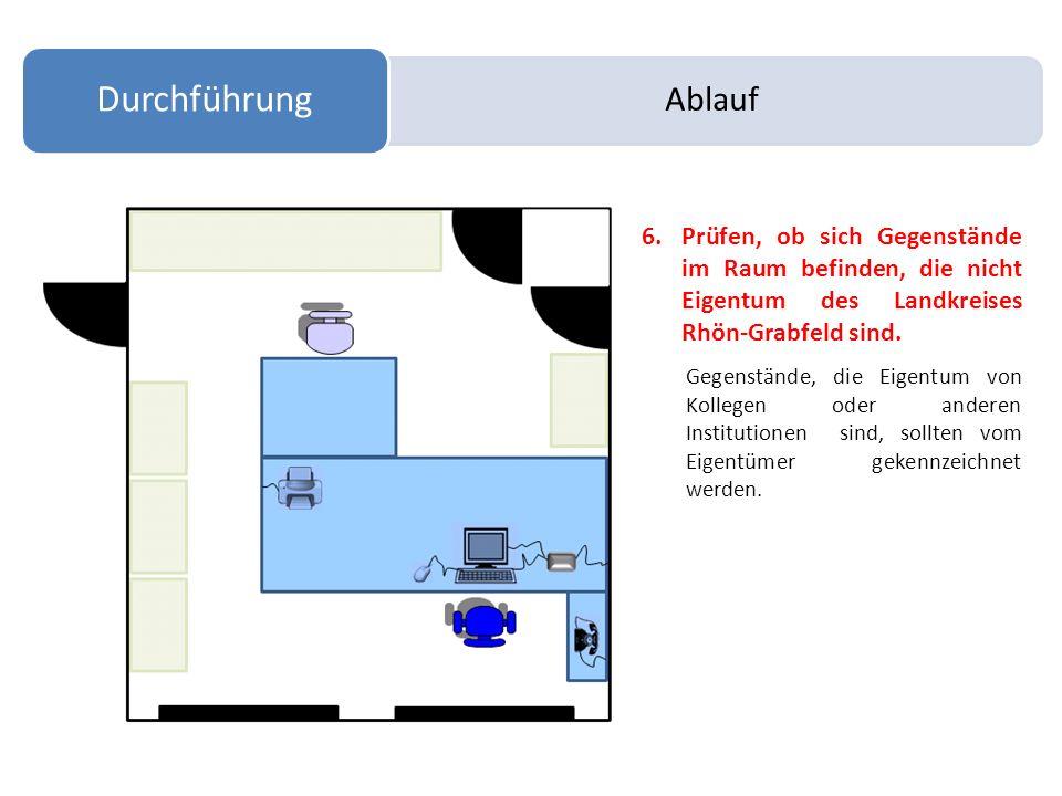 Ablauf Durchführung 6.Prüfen, ob sich Gegenstände im Raum befinden, die nicht Eigentum des Landkreises Rhön-Grabfeld sind. Gegenstände, die Eigentum v