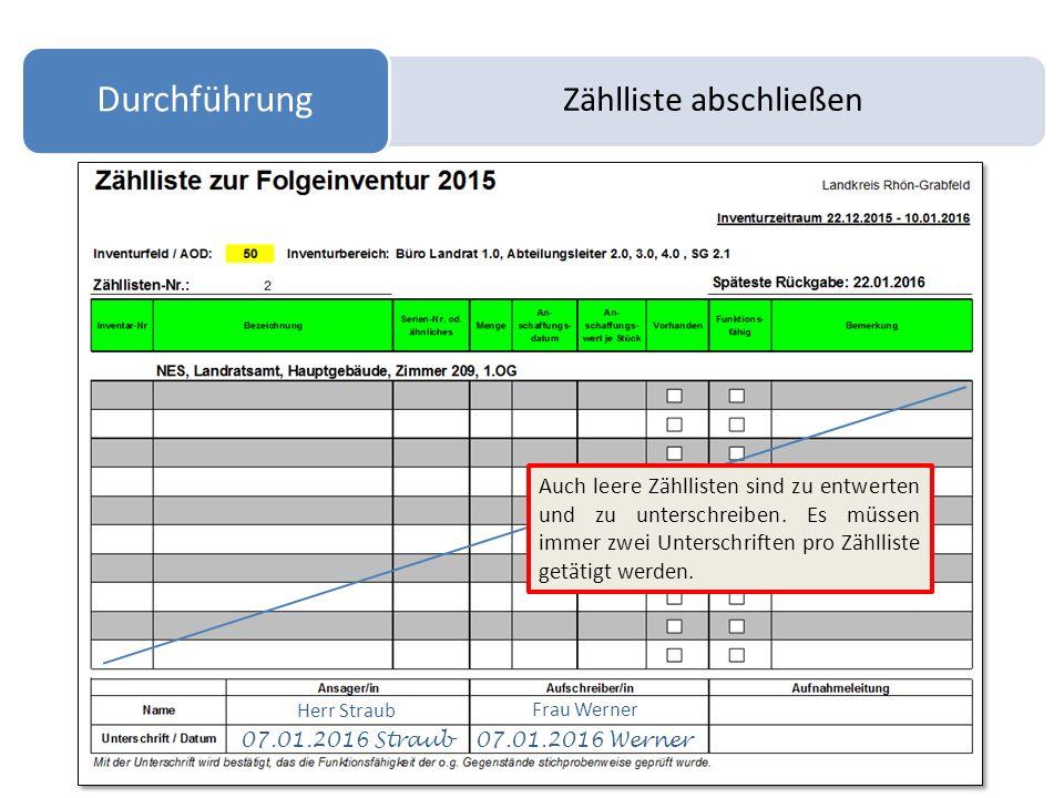 Zählliste abschließen Durchführung Herr Straub Frau Werner 07.01.2016 Straub 07.01.2016 Werner Auch leere Zähllisten sind zu entwerten und zu untersch
