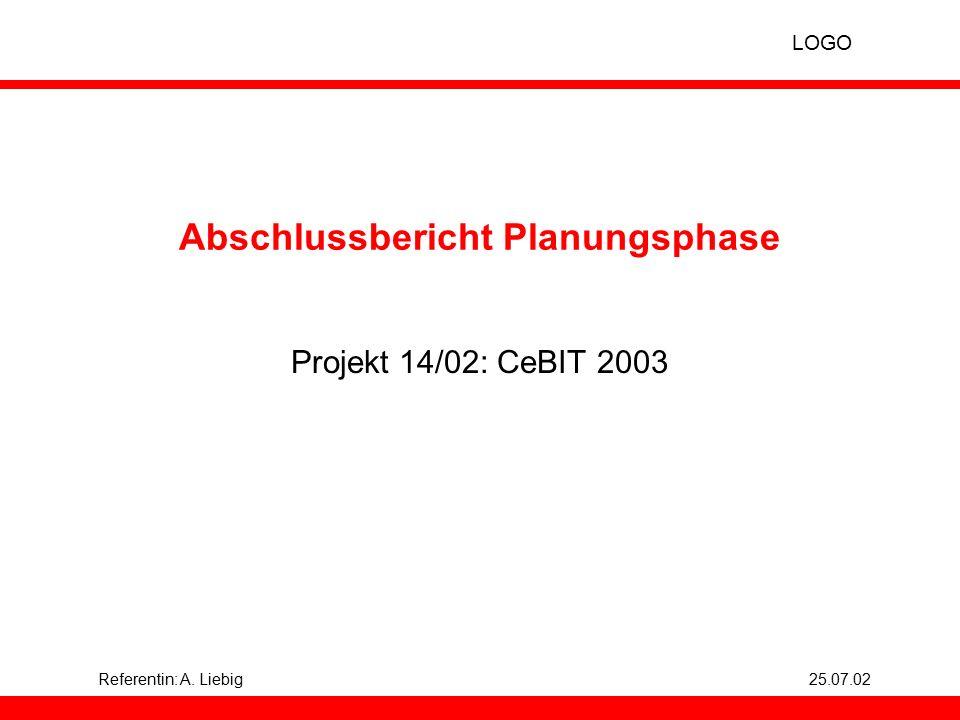 LOGO Referentin: A. Liebig25.07.02 Abschlussbericht Planungsphase Projekt 14/02: CeBIT 2003