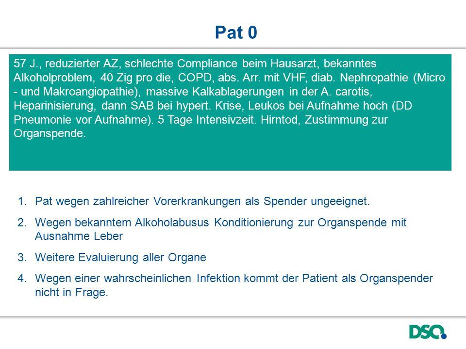 In der Mikrobiologie (Urin, BAL, Blutkultur, Serologie) kein Nachweis einer Infektion.