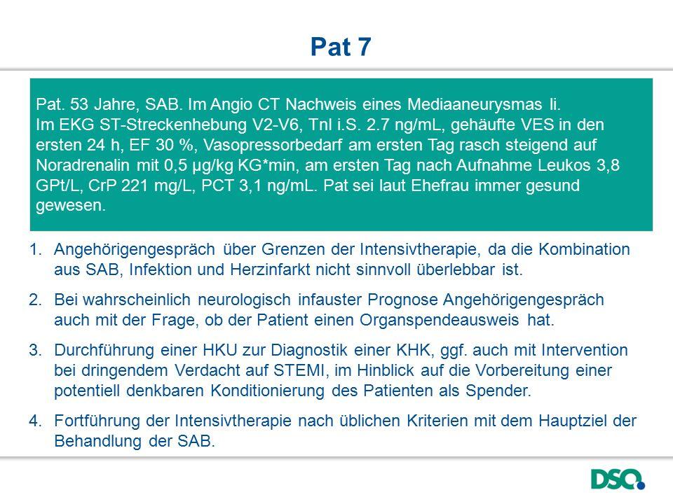 Pat. 53 Jahre, SAB. Im Angio CT Nachweis eines Mediaaneurysmas li. Im EKG ST-Streckenhebung V2-V6, TnI i.S. 2.7 ng/mL, gehäufte VES in den ersten 24 h