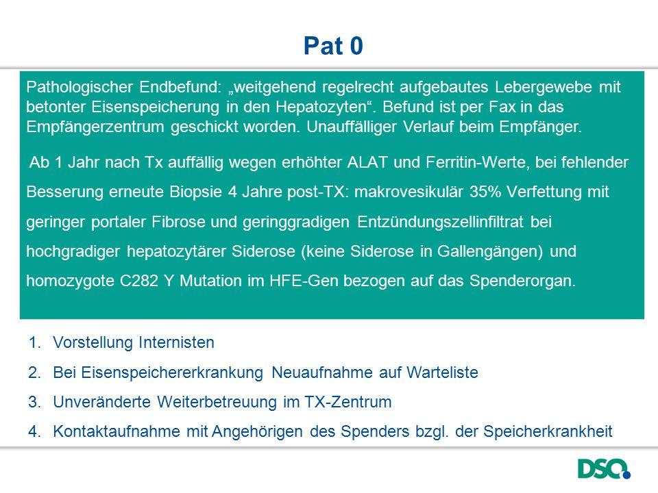 """Pathologischer Endbefund: """"weitgehend regelrecht aufgebautes Lebergewebe mit betonter Eisenspeicherung in den Hepatozyten"""". Befund ist per Fax in das"""