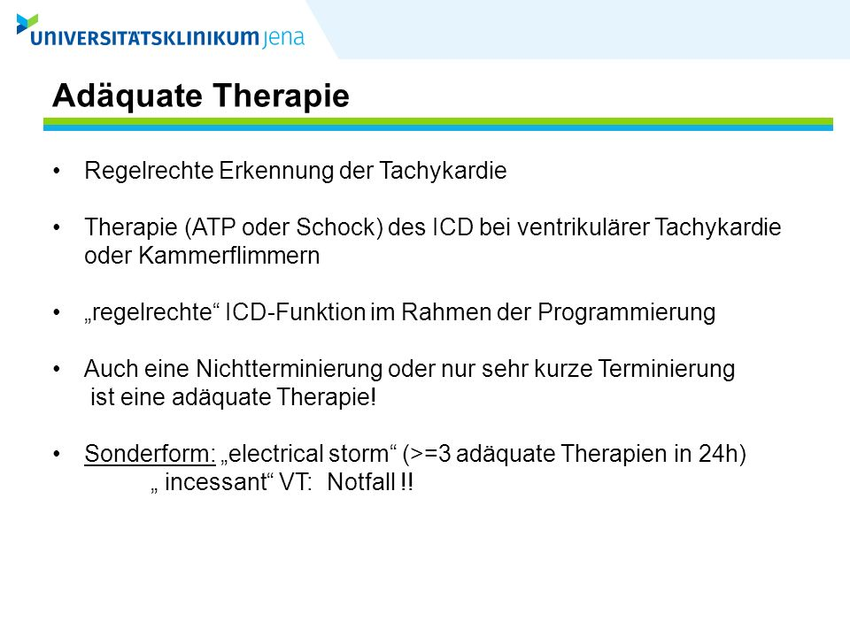 Inadäquate Therapie: V.a.Elektrodenproblem Schockabgaben ohne VT-Symptome bzw.