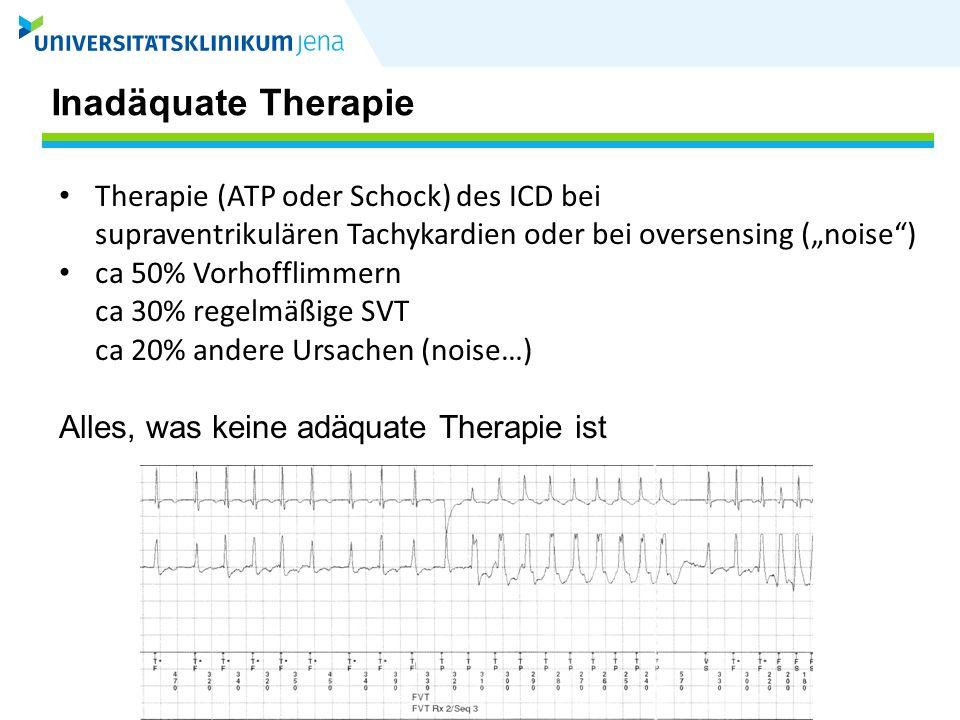 AVID Studie Randomisiert = 1016 507 = ICDAAD = 509 Vor Entlassung verstorben Keine ICD- Implantation ICD ohne Speicher 9 7 34 457 Pat 274 (60%) mit > 1 adäquaten ICD Therapie bei VT/VF 90 (20%) entwickelten ES Derek VE.