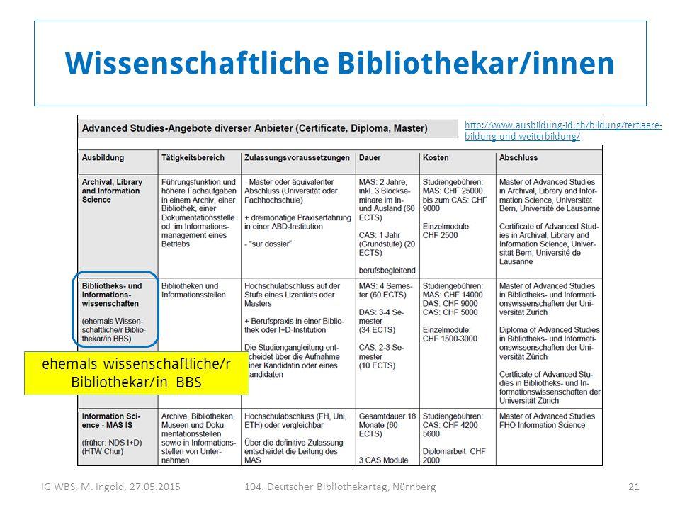 IG WBS, M. Ingold, 27.05.2015104. Deutscher Bibliothekartag, Nürnberg21 Wissenschaftliche Bibliothekar/innen http://www.ausbildung-id.ch/bildung/terti